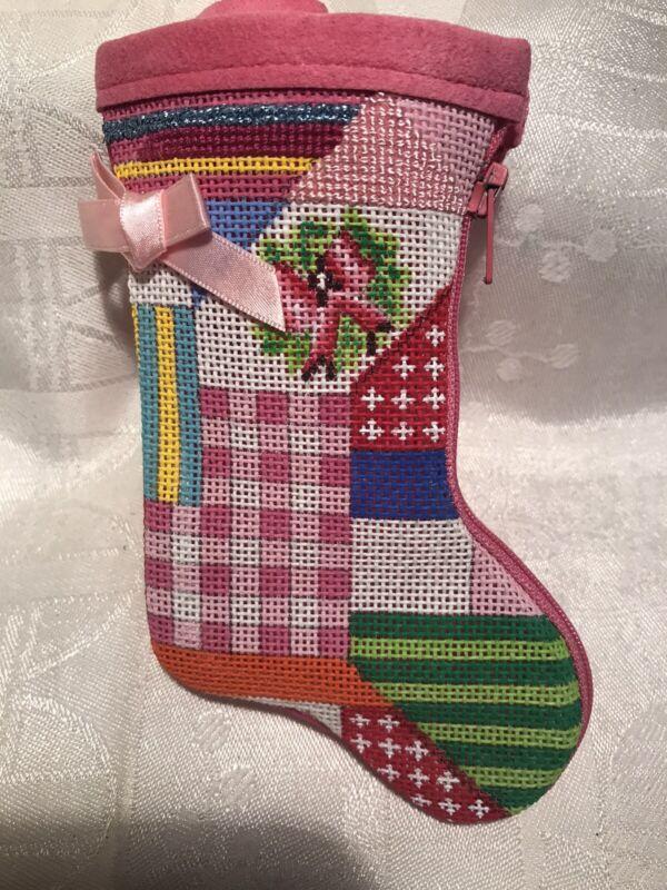 alice peterson stitch & zip needlepoint christmas stocking / preworked