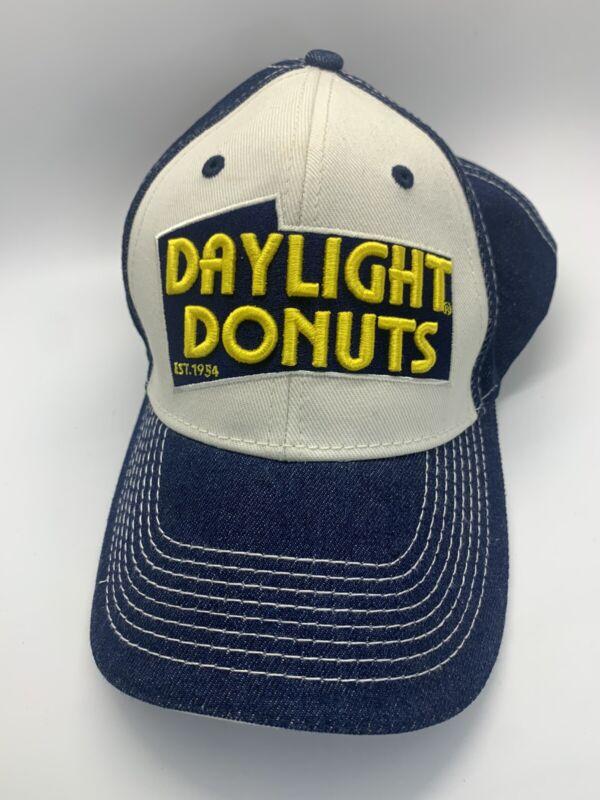 Daylight Donuts Cap Hat Hook Loop Strap Back Denim Blue Yellow White Stitching