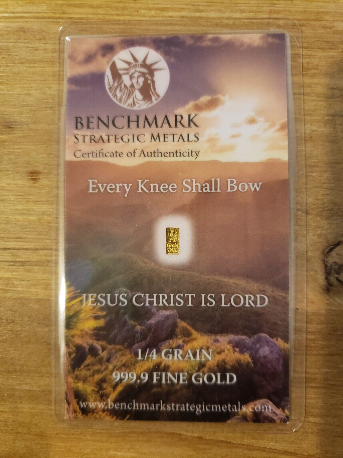 1/60 GRAM 24K PURE GOLD 999 FINE BENCHMARK STRATEGIC METALS JESUS CHRIST IS LORD