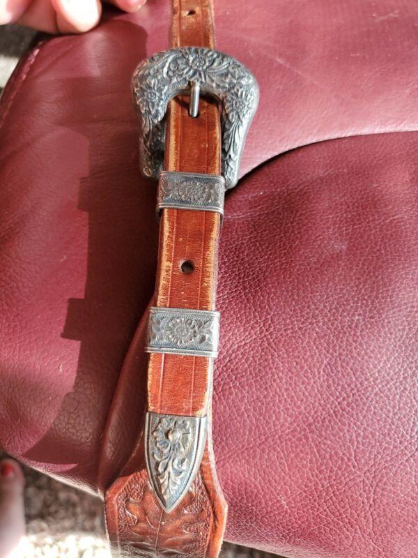 Fine Vintage Sterling Silver Ranger Style Engraved Western Belt Buckle Set