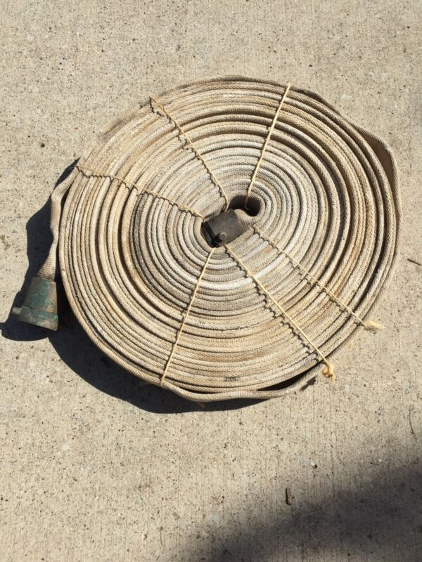 """Vintage 100 Foot Cloth Fire Hose S.J. Tested To 300 lbs 1 1/2"""" Wide"""