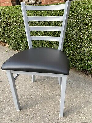 Silver Ladder Back Metal Restaurant Chair With Black Vinyl Seat Frame Welded.