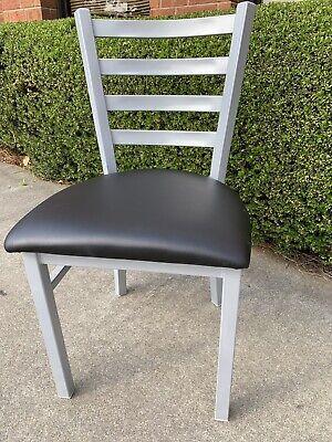 Silver Ladder Back Metal Restaurant Chair With Black Vinyl Seat Frame Welded.