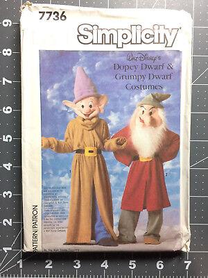 Simplicity #7736  Costume Pattern Disney Dopey Grumpy Dwarf Size 10 & 12 FF / - Dopey Costume
