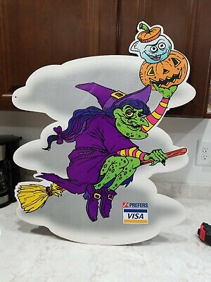 Vintage K mart prefers Visa  Halloween  Witch Cut out display 2 sided  Spooky](Halloween Decorations Kmart)