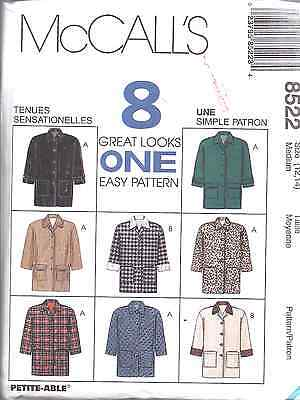 8522 UNCUT McCalls SEWING Pattern Loose Fitting Lined Jacket Easy 8 Great Looks