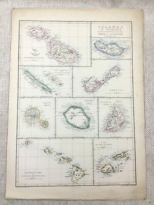 Antique Map of Fiji Bermuda Malta Islands Hand Coloured 19th Century Original