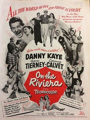 On the Riviera, Danny Kaye, Gene Tierney, Full Page Vintage Promotional Ad
