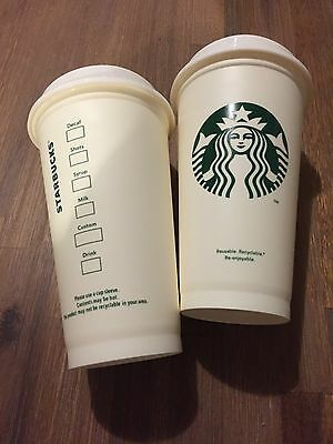(2) Starbucks Reusable Plastic Grande Coffee Tea Cup Tumbler Recyclable Mug New