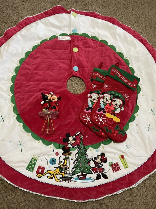 Disney Mickey & Minnie Plush Christmas Tree Skirt W/ 2 Stockings & Tree Topper