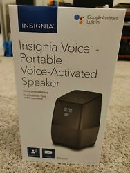 Insignia Voice Smart Portable Bluetooth Speaker Alarm Clock w Google Assistant
