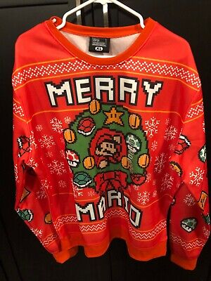 New Merry Mario Ugly Christmas Sweater Mario Wreath Sweater XL