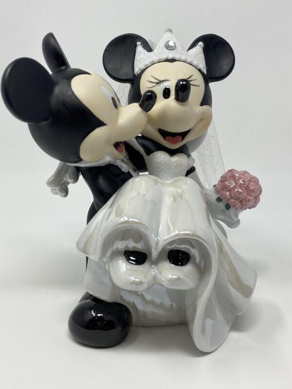 Disney Parks Minnie Mickey Mouse Bride Groom Porcelain Wedding Figurine Cake Top