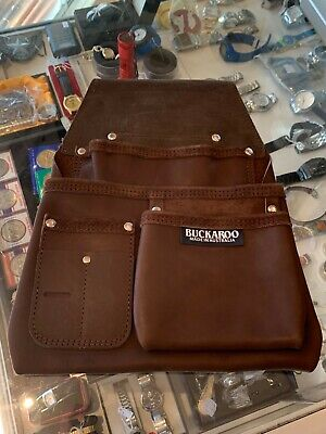 BUCKAROO (NBF3) 3 POCKET LOW DROP NAILBAG IN BROWN LEATHER - NEW NEVER USED !