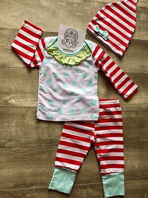 Girls Holiday Pajamas (Girls Christmas Holiday Pajamas Set 2T Toddler 100% Cotton Boutique 3-Piece)
