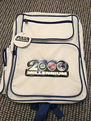 Retro 2000 Millennium Back Pack Ruck Sack White And Blue