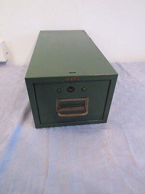 Vtg Green Cole-steel Metal 3x5 Index Card File Recipe Box Drawer Industrial Lock