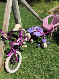 Girls kids bike & chair.