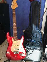 Fender squire stratacaster electric guitar with fender 15g amp Belgian Gardens Townsville City Preview