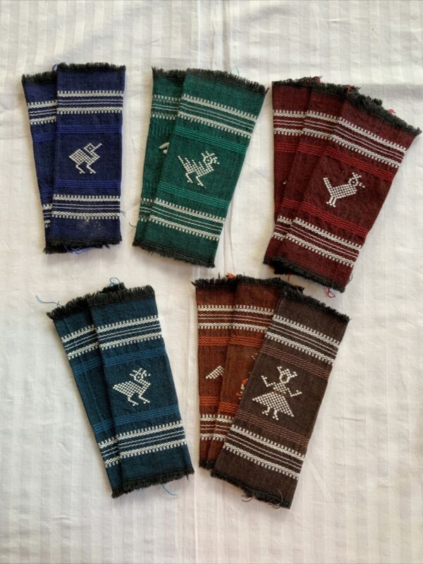 Vtg, Set Of 12 Hand Woven Guatamala Cocktail/Snack Napkins, Assorted Colors