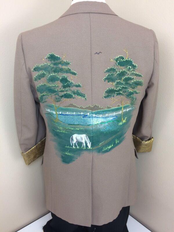Vtg Hand PAINTED RANCH HORSE SCENE Sport Coat Costume ARTISTS Jacket Blazer 40 R