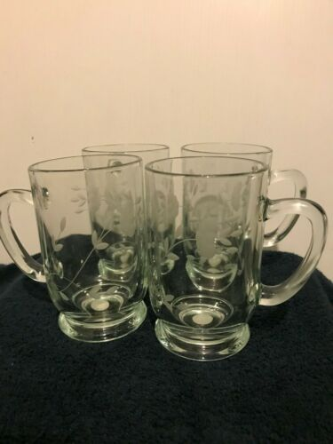 NEW Princess House Heritage 4 Crystal Grande Coffee Mugs 515