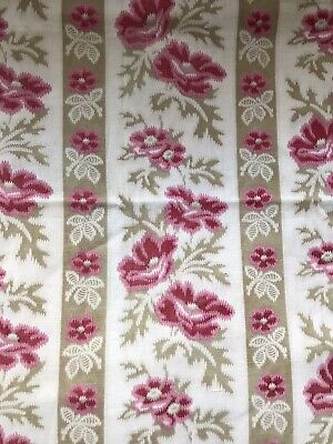 Superb Antique French Toile Floral Shabby Chic panel c1900s 40/90cms