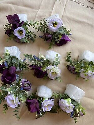 LOT OF 8 WEDDING FLORAL CENTERPIECES, PREVIOUSLY USED IN A DECORATIVE GLASS DOME