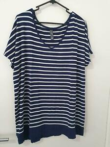 Blue & White Stripey T-Shirt Size 20