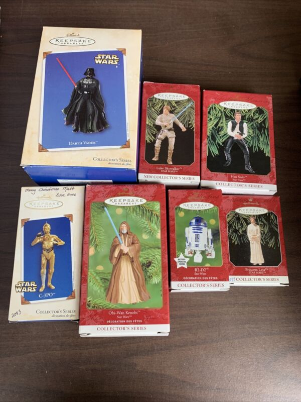 Hallmark Star Wars Keepsake Ornaments Lot Of 7 R2 D2 Leia Han Solo Vader C 3PO