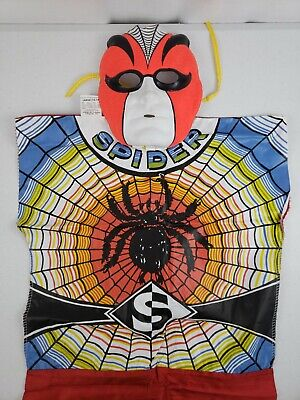 """VTG Spider Collegeville 1973 Halloween Costume, Mask, Box 12-14Y 51"""" to 56"""" TALL"""