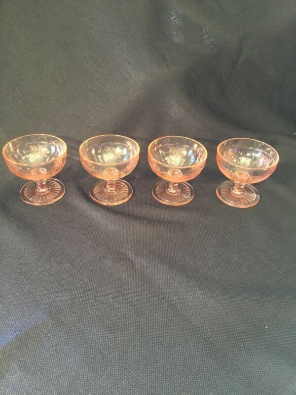 PINK DEPRESSION GLASS 4 STEMMED SHERBET DISHES