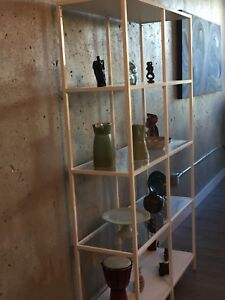 IKEA glass shelving unit