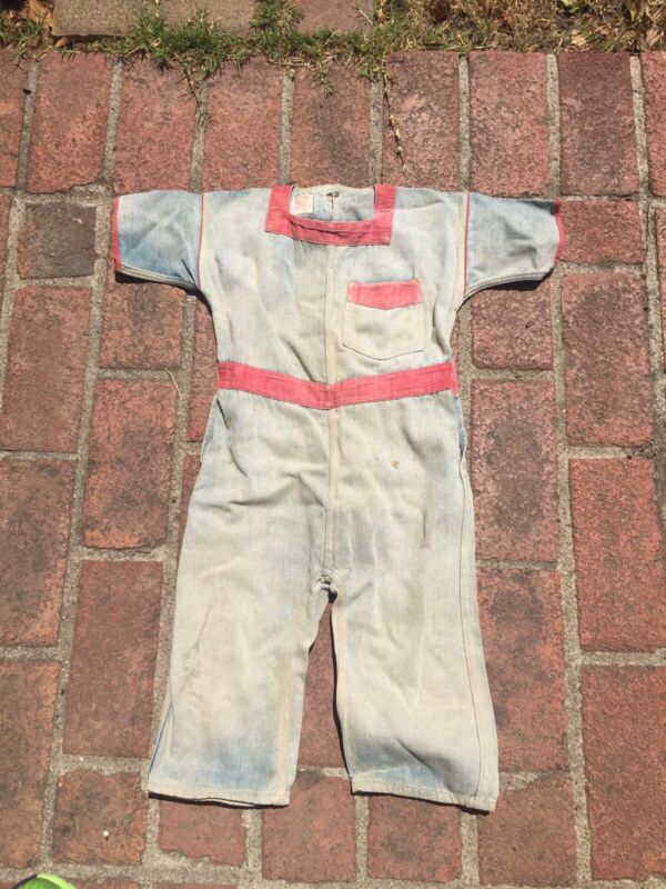 Antique Vtg Levi Strauss Childs Koveralls 1920s well worn loved Jumper denim Usa