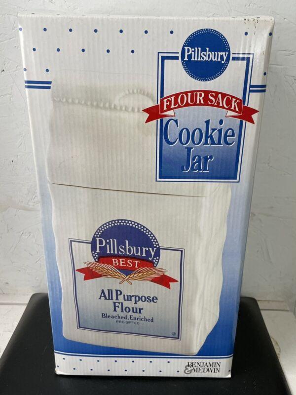 FREE SHIPPING vintage NIB Pillsbury Flour Sack Benjamin & Medwin Cookie Jar