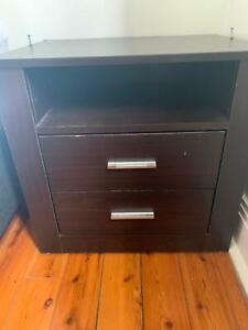 Side Table Dark Chocolate 2 drawers