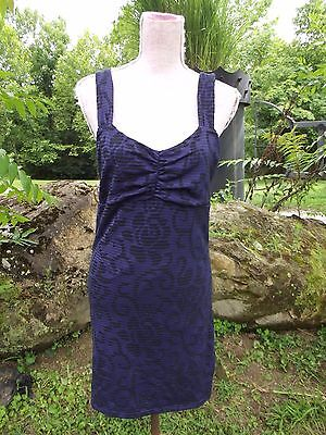 FREE PEOPLE Large Ribbed Knit Stretch Purple Black Floral Dress Sleeveless MINT