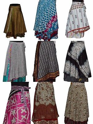 Indian Wrap Around Skirt Wholesale lot of 10 Pcs Printed Reversible Two Layer  - Skirt Wholesale