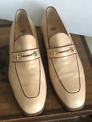 *Vintage Authentic Gucci Bit Loafer Mens Size 43.5 Tan Leather Made In Italy
