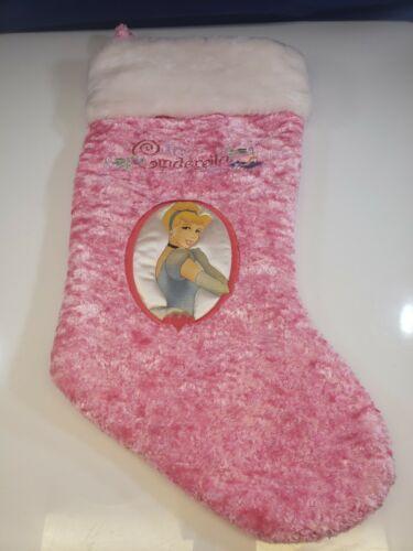 DISNEY Cinderella Plush Embroidered Pink Christmas Stocking Princess
