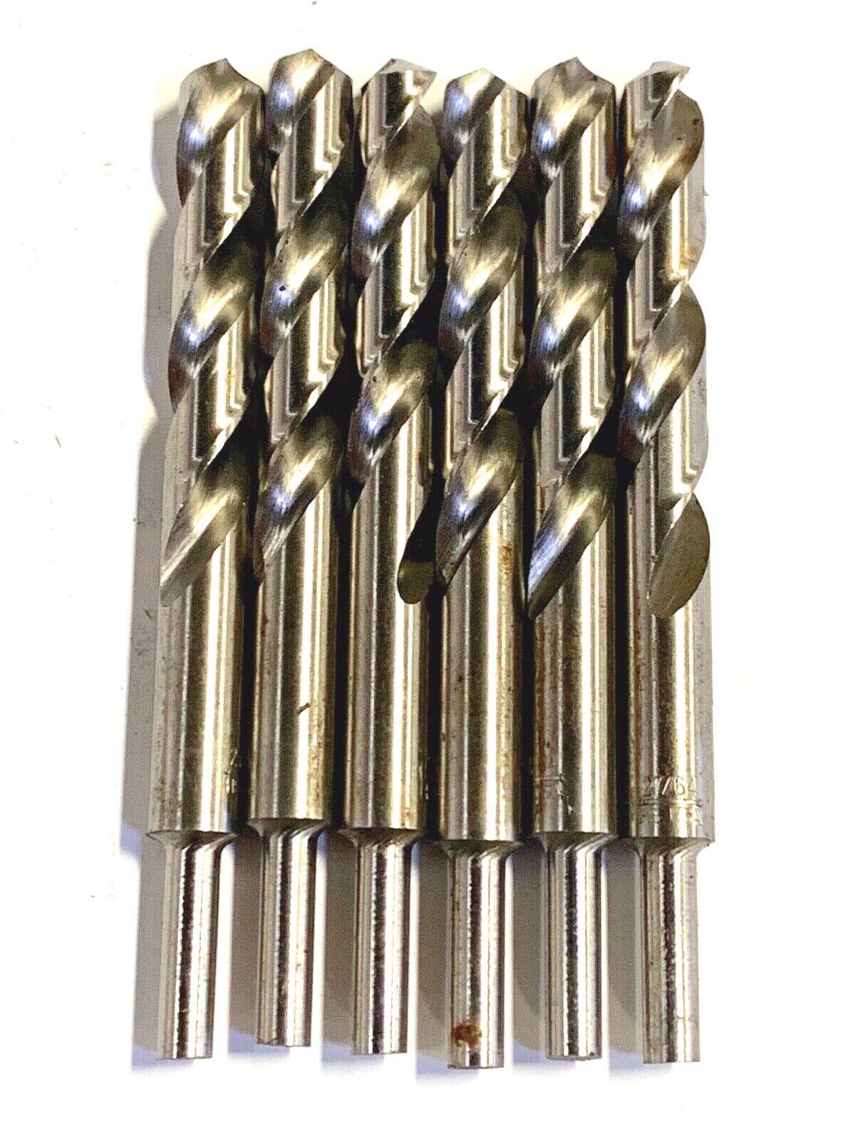 """27/64"""" Drill Bit HSS 1/4"""" Reduced Shank Drills Metal Cutting"""