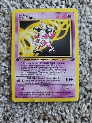 PRINT ERROR Mr. Mime 22/64 -Jungle Set Non-Holo Rare 1st Edition Pokemon Card
