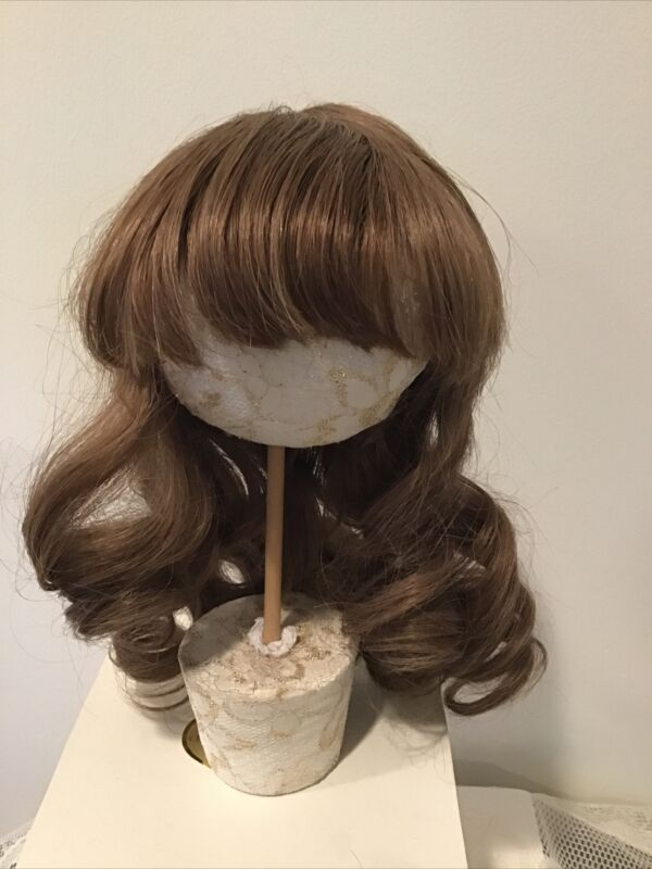 """14-15"""" Brown Synthetic Wig  With Long Soft Waves & Bangs"""