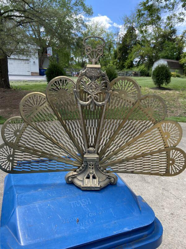 Vintage Peacock Style Brass Fan Fireplace Folding Screen