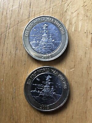 £2 Two pound Coin 2015 The First World War 1914-1918 Royal Navy HMS Belfast X2