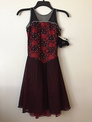 Icings NWT RED AND BLACK TANGO ICE ROLLER DANCE SKATING  DRESS ()