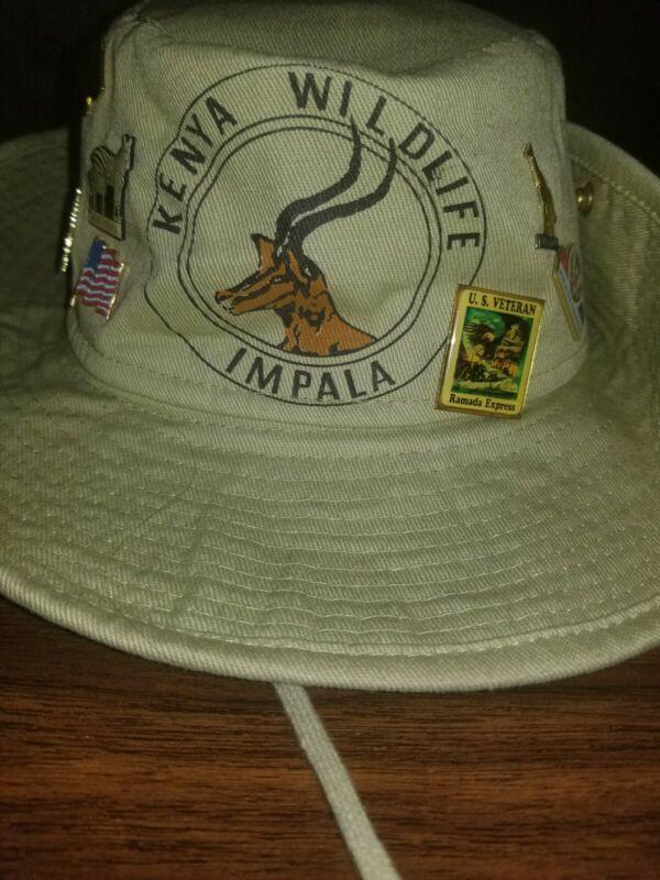Kenya Wildlife Impala Safari Tan Hat with pins