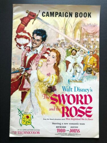 """The Sword and the Rose Pressbook w/Supplement (1953) - 30 Pages 11"""" x 18"""" EX"""