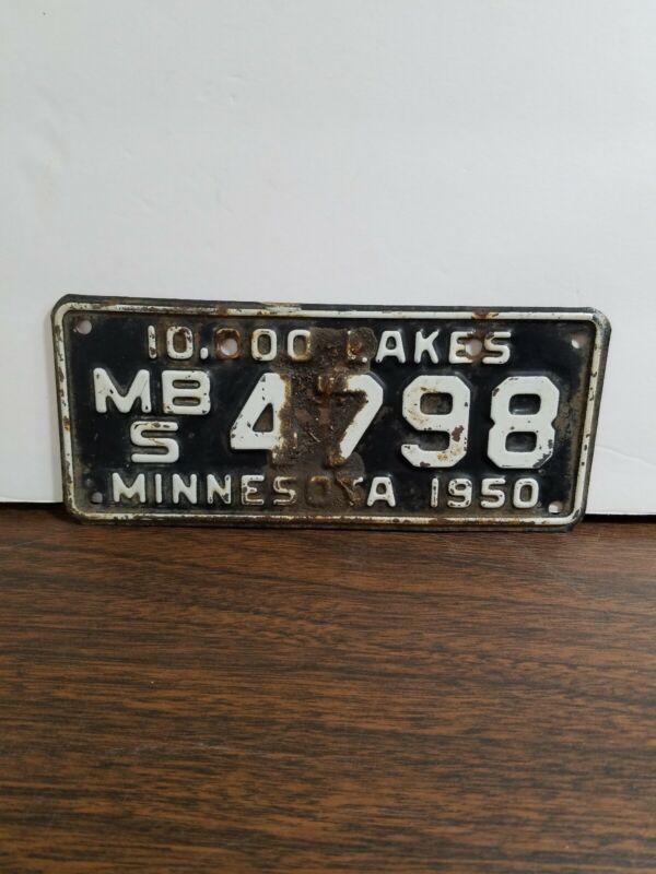 Vintage minnesota license plate motorcycle 1950
