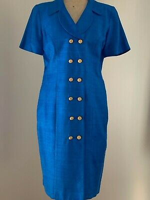 80s Dresses | Casual to Party Dresses Vintage 1980s Anthea Crawford blue silk double breasted shirt dress size 14 $23.19 AT vintagedancer.com